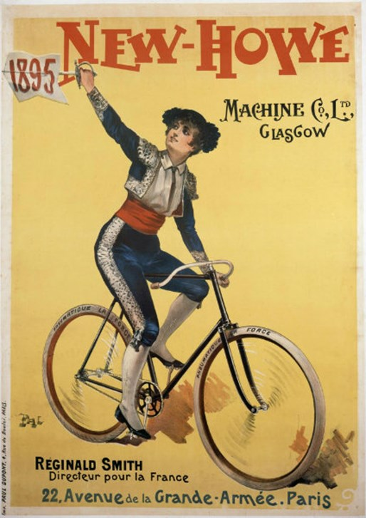 This rare 1895 poster advertises bicycles made by Glasgow company New-Howe Machine Co. Ltd. It features a lady cyclist in a quite scandalous outfit!