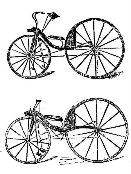 Bicycle designs thought to be by Thomas McCall in 1869, later predated to 1839 and attributed to Macmillan.