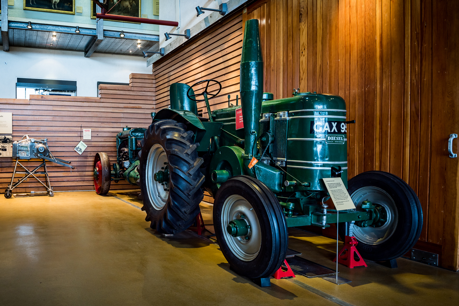 A tractor in a museum display