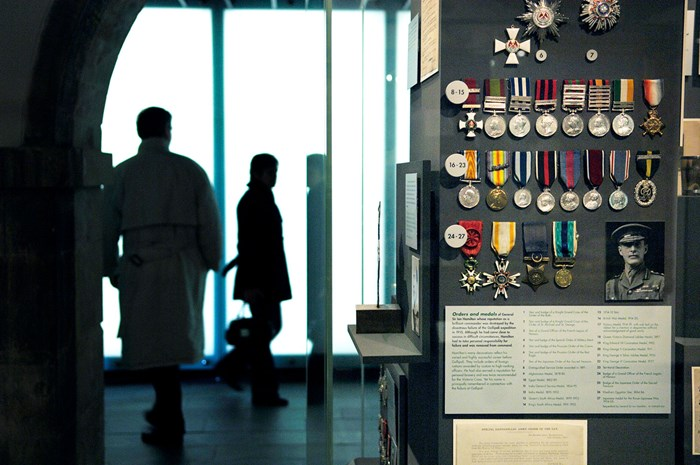 Medals on display in the National War Museum