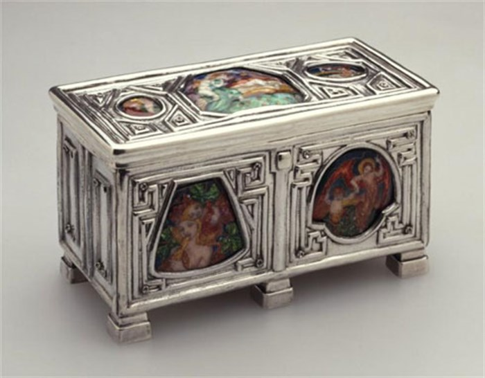 Silver writing casket with enamels by Phoebe Traquair
