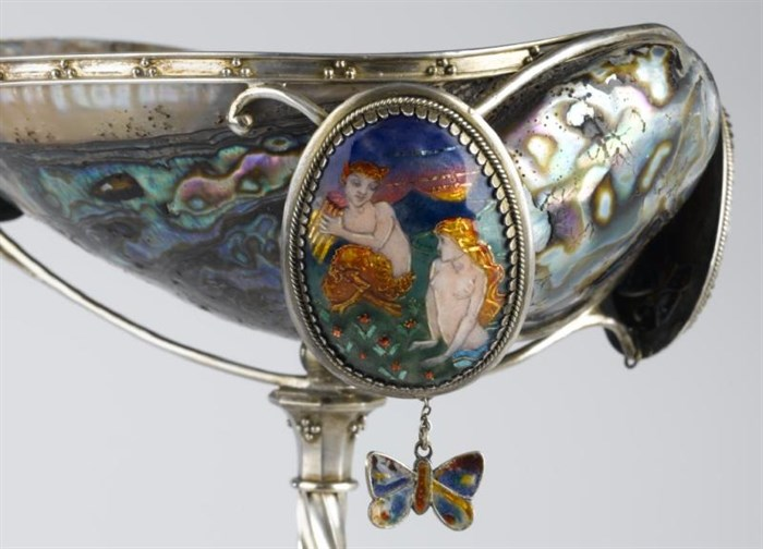 Detail of the paua shell cup