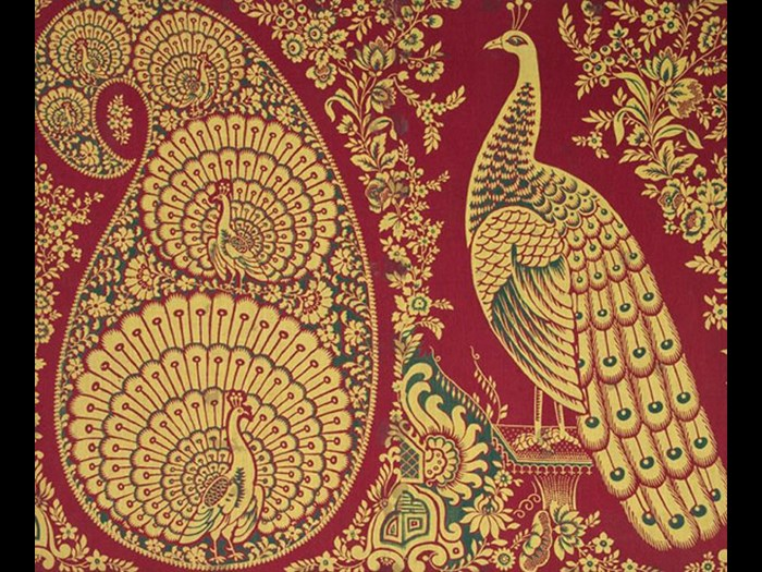 Peacocks in a paisley shape and large peacock right