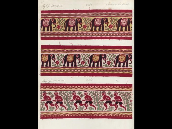 Elephants and runners, three samples on page