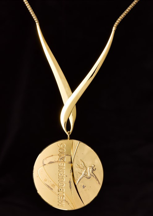 Above: Gold medal won by cyclist Sir Chris Hoy at the 2006 Commonwealth Games.