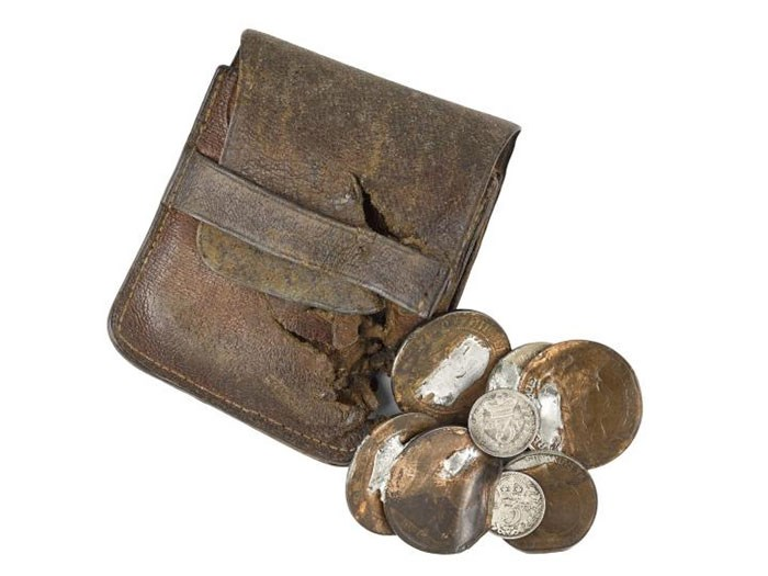 Harold Brierley was a resident of Oldham, Lancashire when he volunteered for the 'Manchester Scottish'. Serving with 15th Battalion Royal Scots, he was wounded and taken prisoner during the battle of Arras in 1917. This purse and coins were damaged by the impact of a bullet which hit Brierley in the chest.