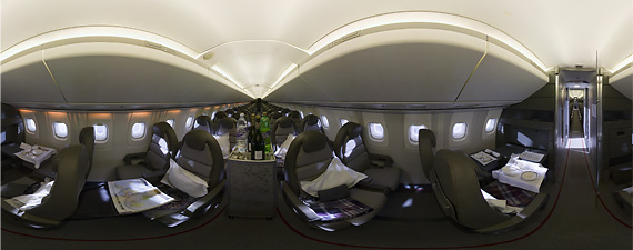 Panoramic view of the cabin of Concorde