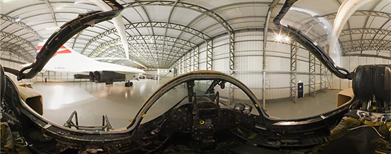 Panoramic view of the Jaguar cockpit