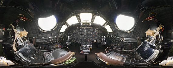 Panoramic view of the Vulcan cockpit