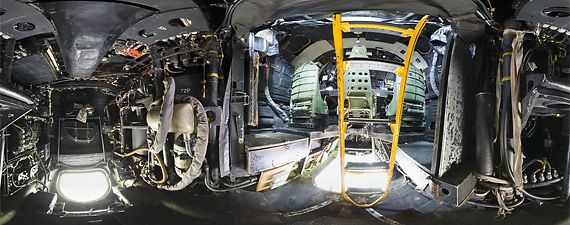 Panoramic view of the rear crew station of the Avro Vulcan bomber