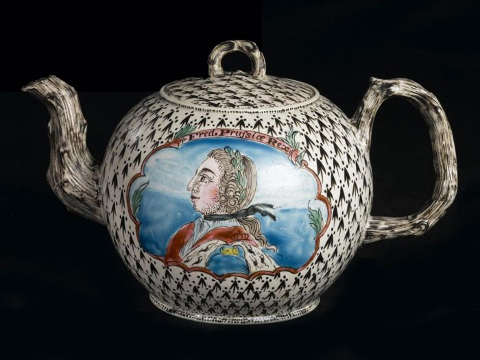 Staffordshire stoneware teapot depicting Frederick the Great, c.1758-1765