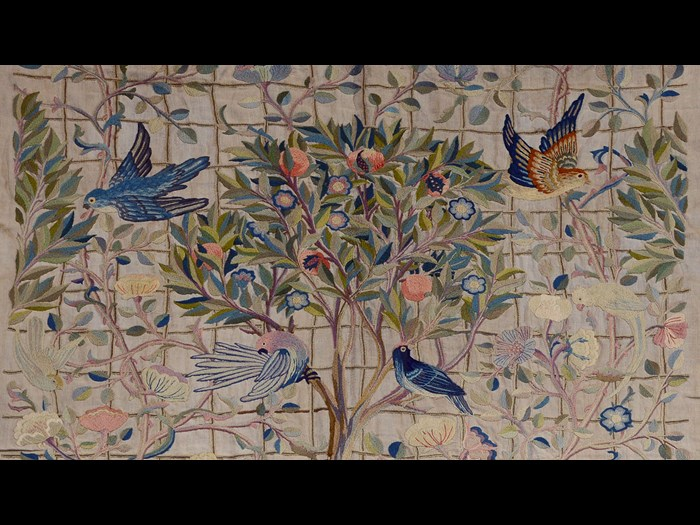 These beautiful hangings were worked around 1900 by May Morris, the daughter of the designer, William Morris. You can see them in the Design for Living gallery.