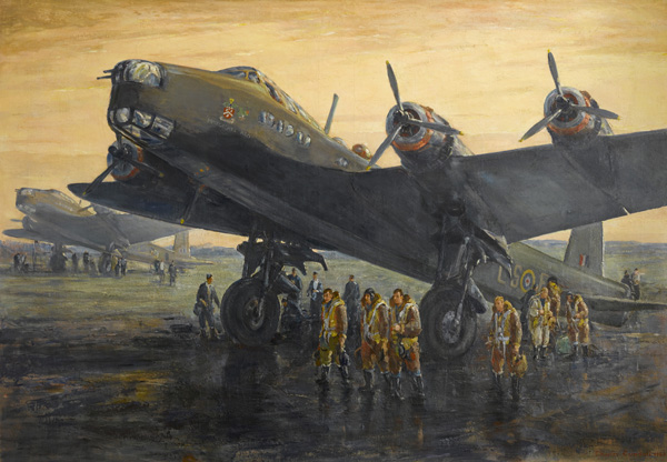 Short Stirlings – The Return of MacRobert's Reply, 1941 by Charles Cundall. This aircraft was named 'MacRobert's Reply' in memory of two brothers, both pilots, killed in 1941 on active service with the Royal Air Force. The MacRobert family crest and badge can be seen on the side of the aircraft. It was named at the request of Lady MacRobert, who donated £25,000 to pay for a bomber as 'a mother's immediate reply' to the loss of her sons. On display at the National War Museum.