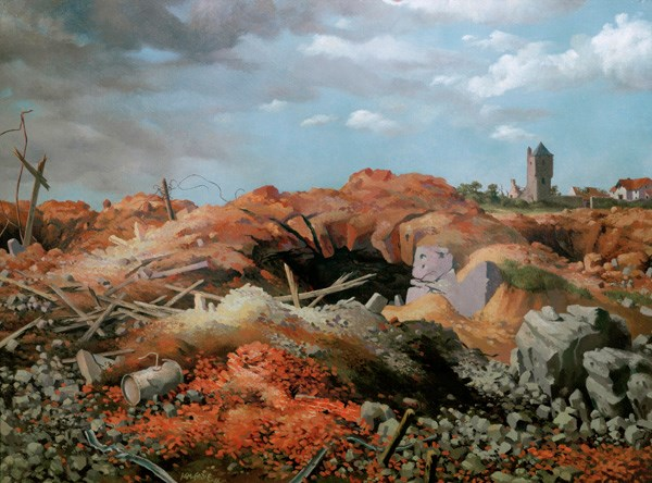 Ian Eadie was an unofficial war artist who served with the 51 Highland Division from 1940-45. This 1946 oil painting depicts the destruction and desolation he saw in 1944 at Ouistreham, a village on the River Orne in Normandy, France. The painting is on display in In Defence at the National War Museum, Edinburgh Castle.