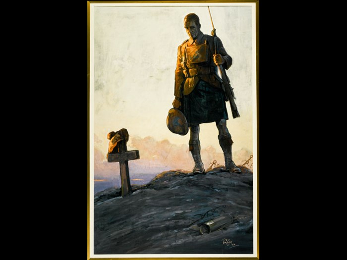 This poster by the Scottish artist Tom Curr was designed to promote fundraising for the Scottish National War Memorial, which opened in Edinburgh Castle in 1927. The location of the National War Museum, which opened in 1930, was part of the same memorial project. The painting is on display in Rewards of Industry on Level 5 of the National Museum of Scotland.