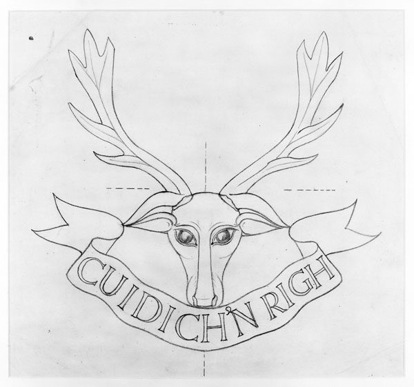 (Herbert) Joseph Cribb was a renowned English sculptor, who designed headstones for the Imperial War Graves Commission. This design was for the headstones of officers and men of the Seaforth Highlanders, and depicts their regimental cap badge of the stag's head and Gaelic motto 'Help the King' of the Mackenzie chief who first raised the regiment in 1793.