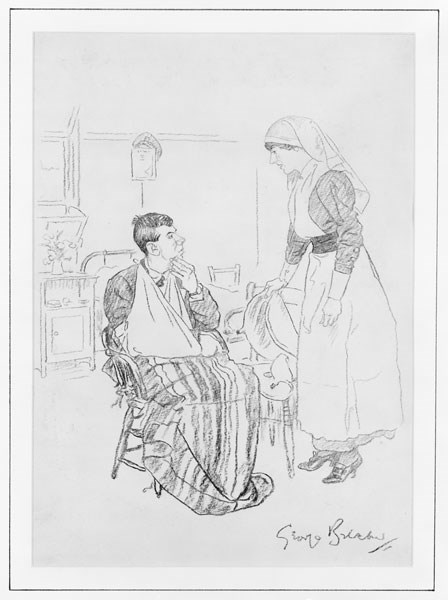 This humorous charcoal drawing from the First World War is by George Belcher, the Punch cartoonist. It is captioned: 'Nurse (to Scottish Tommy): 'You play the bagpipes, Donald, I wish you'd blow these air cushions up for me.'