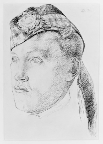 Sir Jacob Epstein served as a Private in the Royal Fusiliers (City of London Regiment) during the First World War. In 1919 Sir Muirhead Bone gave Epstein a personal commission to execute a portrait bust of a Scottish soldier, Sergeant David Ferguson Hunter, of the Highland Light Infantry. This is a preliminary drawing for the sculpture and the only known drawing by Epstein of a Scottish subject.
