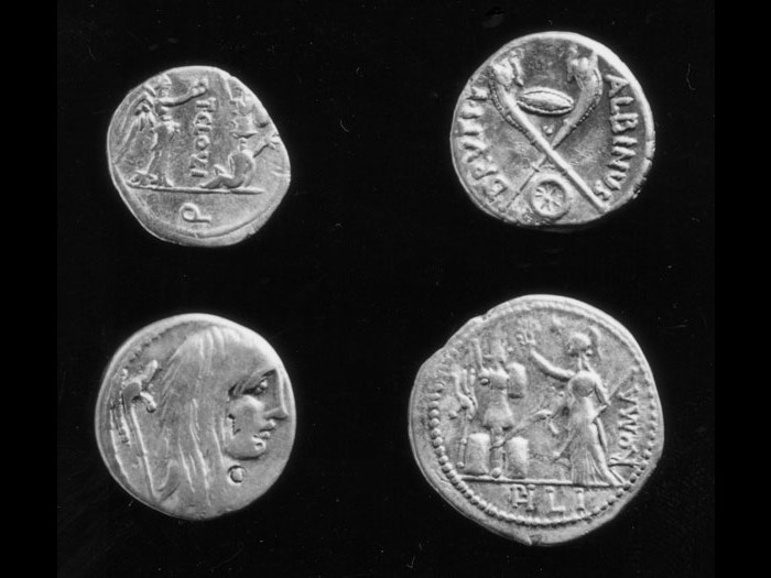 Selection of Roman Republican coins showing captured carnyces.