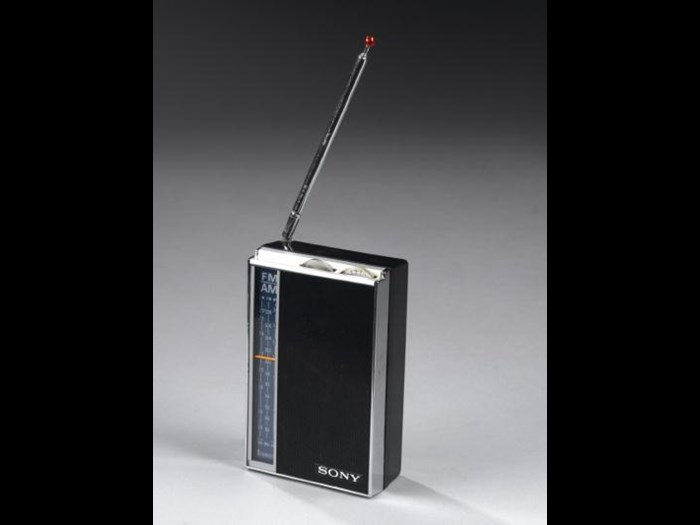 Pocket transistor radio, model TFM-825 DL, by Sony Corporation, Tokyo, Japan, c. 1975.