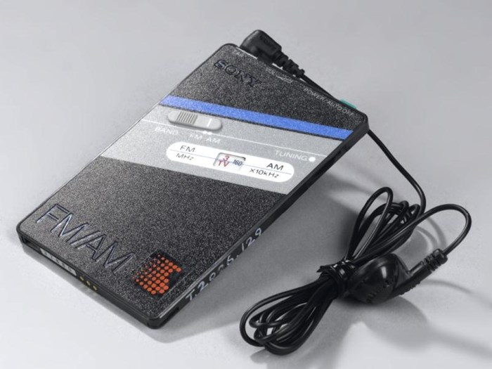 ICF-301 credit card FM / AM mono receiver, boxed with mono earpiece, case, charger, batteries and documentation, by Sony, Japan, 1985.