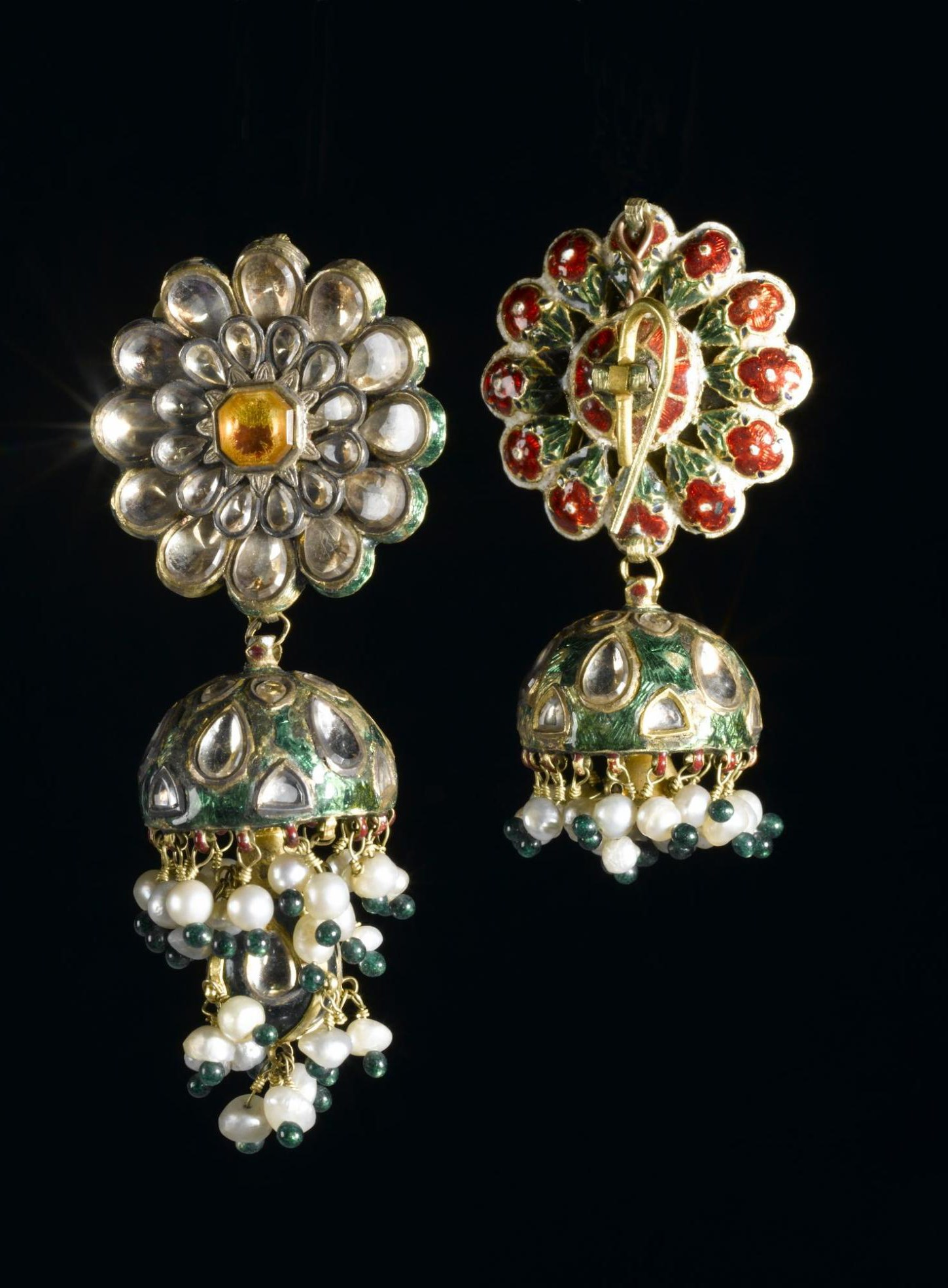 Ear ornaments: Gold, rock crystal, enamel, pearls, green glass: Northern India, probably Delhi, formerly in the possession of Maharaja Duleep Singh.