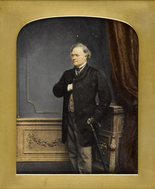 Painted photograph of Sir John Login, oil paint over albumen print, by John Jabez Edwin Mayall, London, 1862.