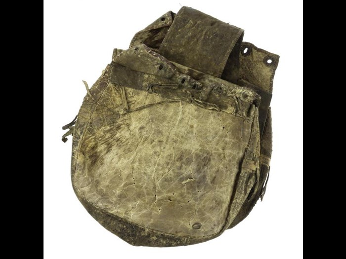 Pair of saddle bags of yak skin. Late 19th century. Acquired by Miss Annie Royle, Taylor. A.1897.320.9