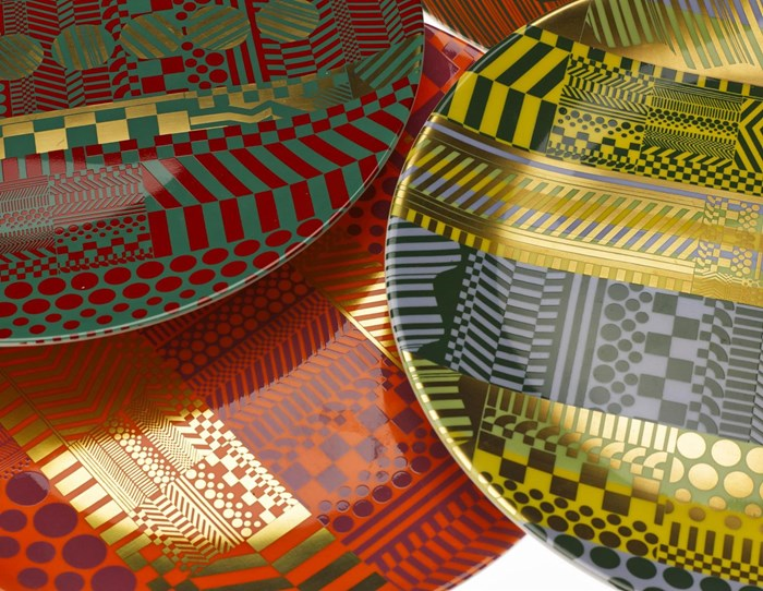 Wedgwood plates designed by  Paolozzi. © Trustees of the Paolozzi Foundation, Licensed by DACS 2015.