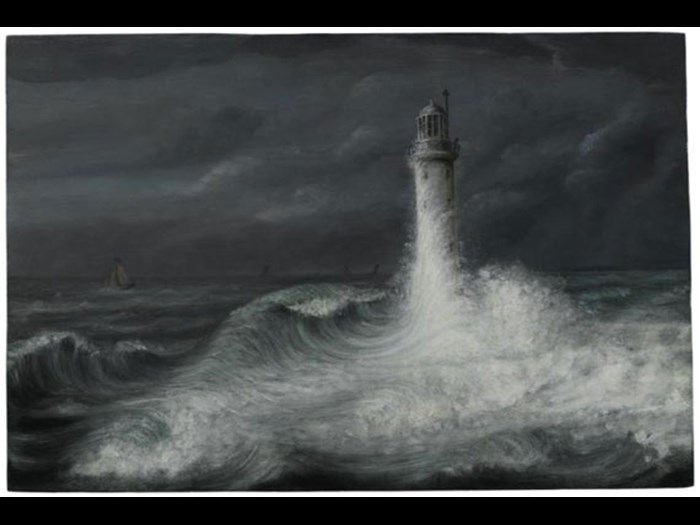 Oil painting of the Bell Rock, by A Macdonald of Arbroath in 1820: The Bell Rock is the oldest surviving rock lighthouse in the world.