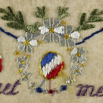 Silk embroidered postcard sent by Private William Dick to his wife in November 1915.