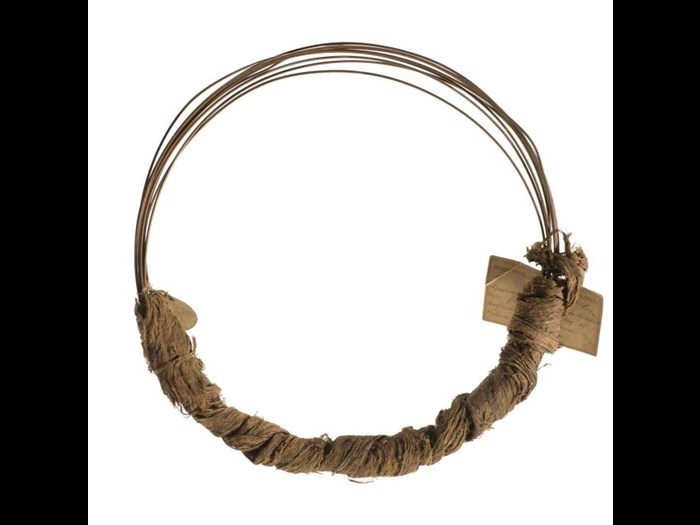 Copper wire wrapped in bark cloth: Southern Africa, Mozambique, Manganja people.
