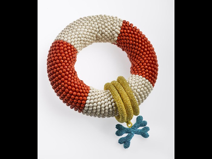 Lifebuoy Bracelet, crocheted textile, mixed media by Felieke van der Leest, 2000. Part of the Terry Brodie Smith collection.