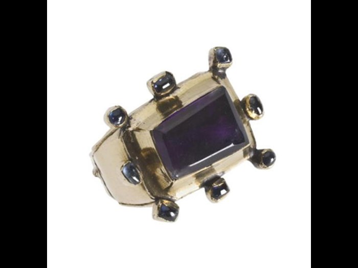 This gold and amethyst ring dates from the 13th century, and was found during excavations at Whithorn Priory in Dumfries and Galloway. You can see it in the Kingdom of the Scots gallery at National Museum of Scotland.