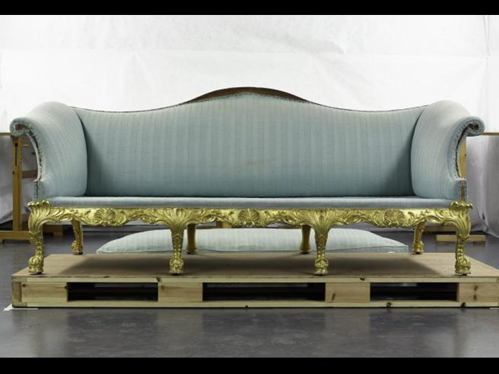 The Spencer House sofa arrives in the conservation laboratory