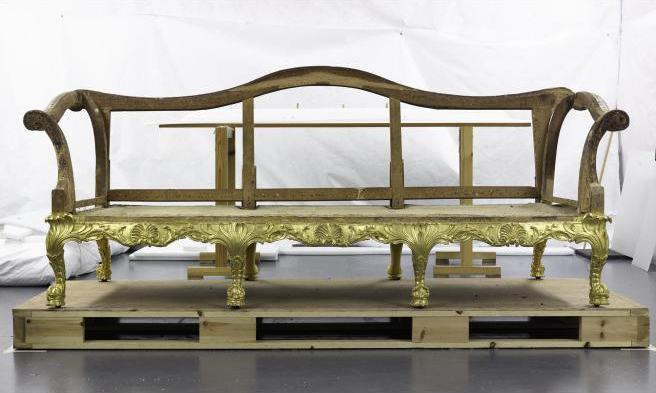 The frame of the Spencer House sofa in the conservation laboratory
