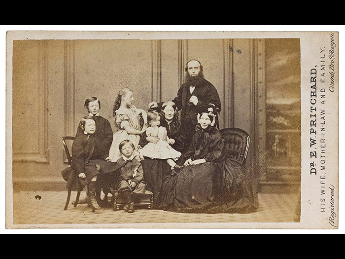 Carte-de-visite of the Pritchard family. Dr Edward Pritchard would later be convicted of poisoning his wife and mother-in-law. Part of the Howarth-Loomes Collection at National Museums Scotland.