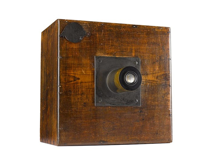 Early calotype camera with lens, c. 1840, part of equipment used by Fox Talbot, the inventor of the photographic negative/positive process.