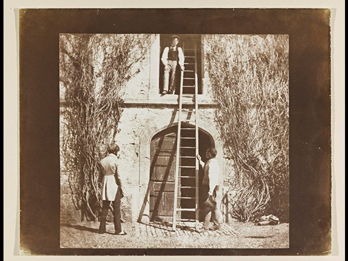 Plate XIV, 'The Ladder', mounted image, from Part 3 of 'The Pencil of Nature' by William Henry Fox Talbot, published May 1845