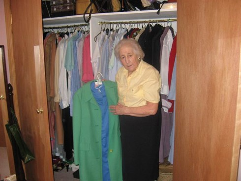 Margaret with her fabulous wardrobe