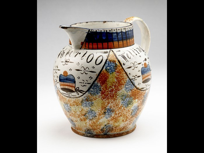 Jug celebrating the return of the Black Watch to Scotland in 1816, believed to have been made at Portobello.