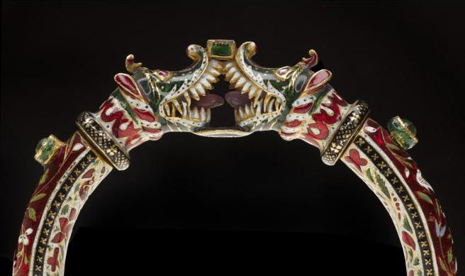 Enamelled gold bracelet set with emeralds and rubies