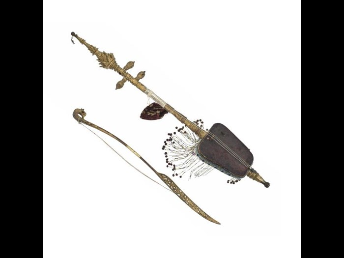 Rebab or spike fiddle of wood with a painted leather body. Malaysia, Kelantan, Kota Bharu, 20th century.