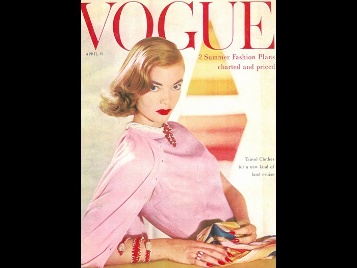 American Vogue cover from April 1955 photographed by Horst with model wearing a Pringle cardigan.