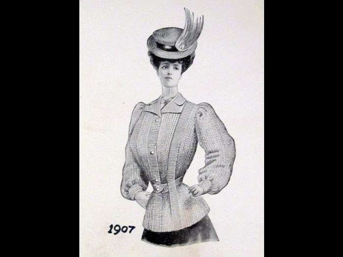 Knitted sports jacket from Pringle price list and catalogue, 1907.