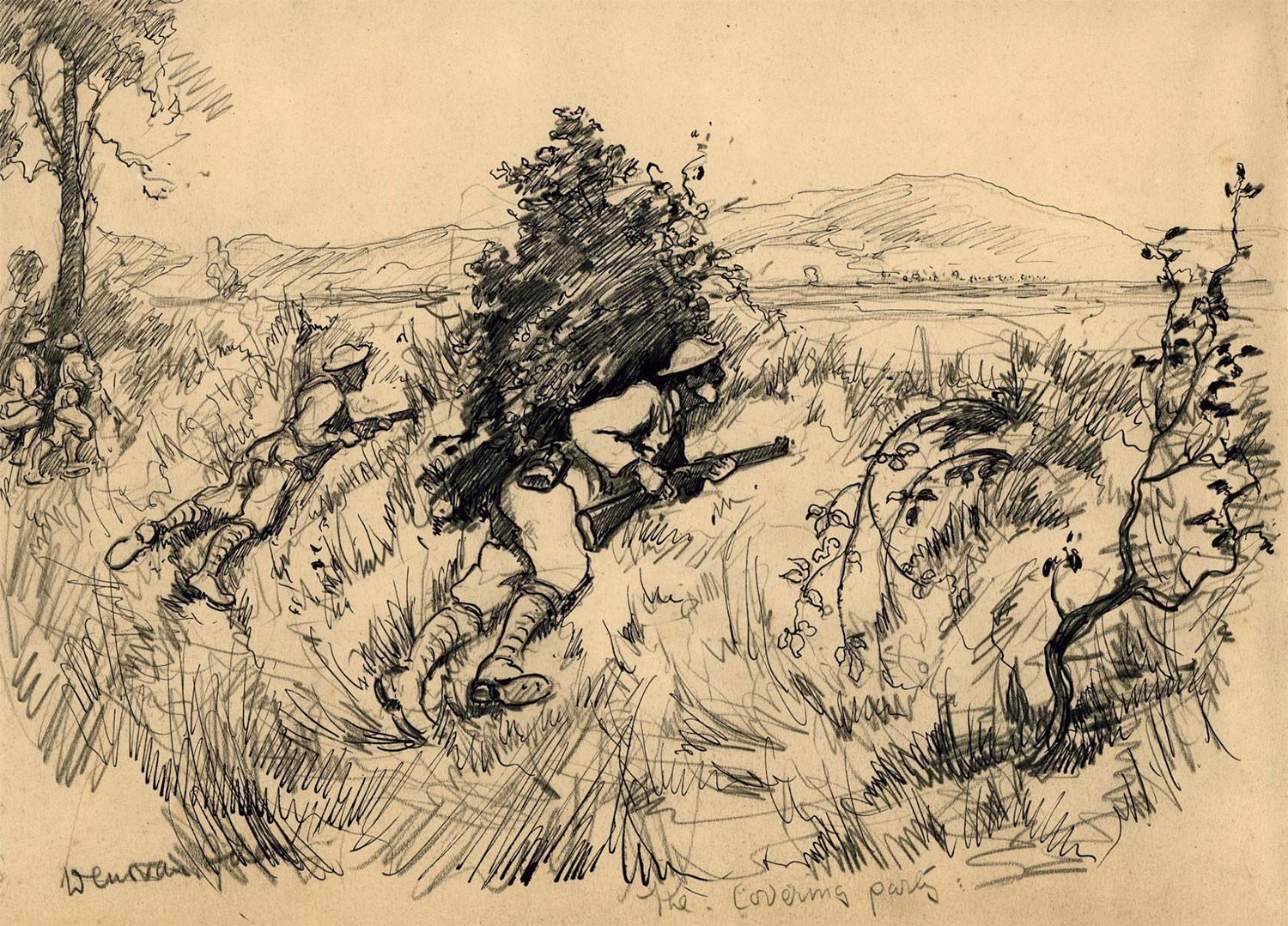 The Covering Party by Lance Corporal Joseph Adam, dated 1918. The Scottish Horse was a part-time yeomanry mounted regiment. During the First World War the regiment served dismounted as an infantry battalion. This is one of a series of drawings depicting the battalion on active service in Salonika, fighting the Bulgarians on the Macedonian Front.