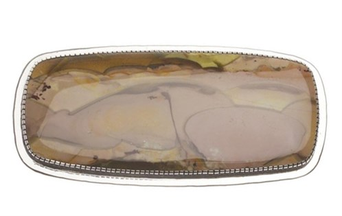 A large piece of highly polished imperial jasper is set in silver onthe front: Yazzie Johnson and Gail Bird, 2009.