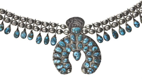 Silver and turquoise necklace with a double row of silver beads, graduated tabs of turquoise cabochon, and silver and turquoise naja shape: Zuni, New Mexico,USA, attributed to Eskisosi, 1920