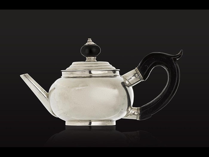 Small silver teapot said to have been owned by Marshal Blücher, who led the Prussian army against Napoleon at Waterloo.