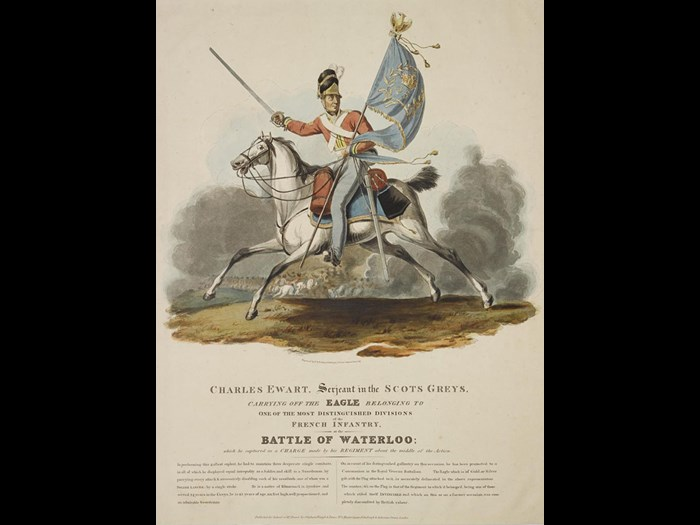 Coloured engraving of Sergeant Charles Ewart carrying off the eagle of the French 45th Infantry at Waterloo.
